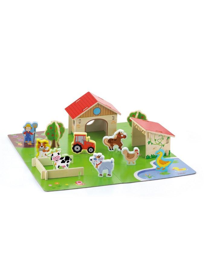 Dětské dřevěné 3D puzzle Viga Farma - multicolor
