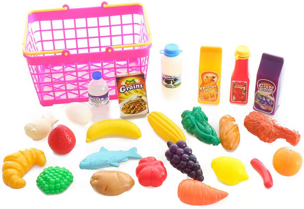 Nákupní košík růžový set s plastovými potravinami 25ks v sáčku