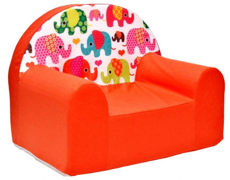 Dětské křesílko/pohovečka Nellys ® - Sloníci oranžoví