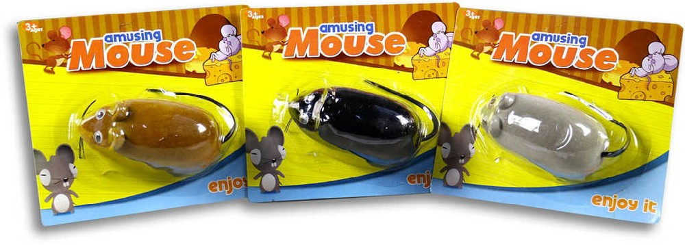 Myš na zpětné natažení 10 cm na kartě plast - 3 barvy