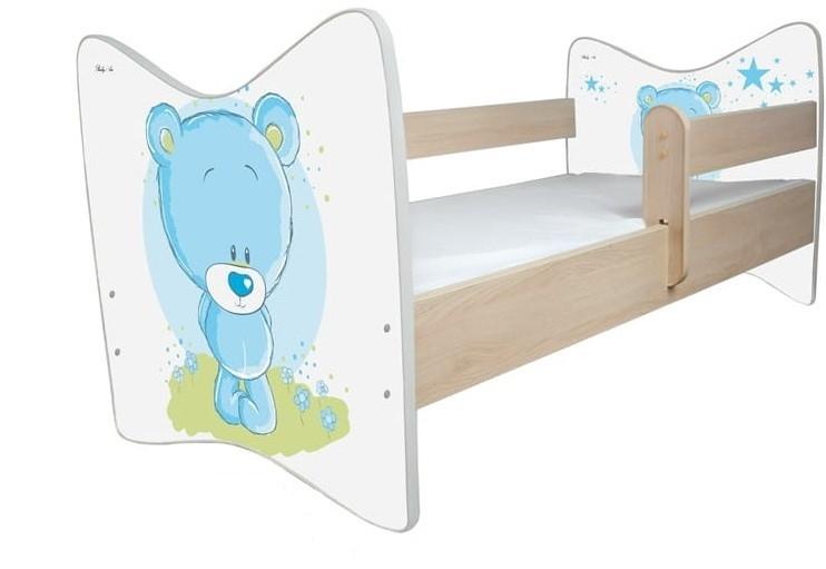 BabyBoo Dětská postýlka LUX Medvídek STYDLÍN modrý 140x70 cm. D19 - 140x70
