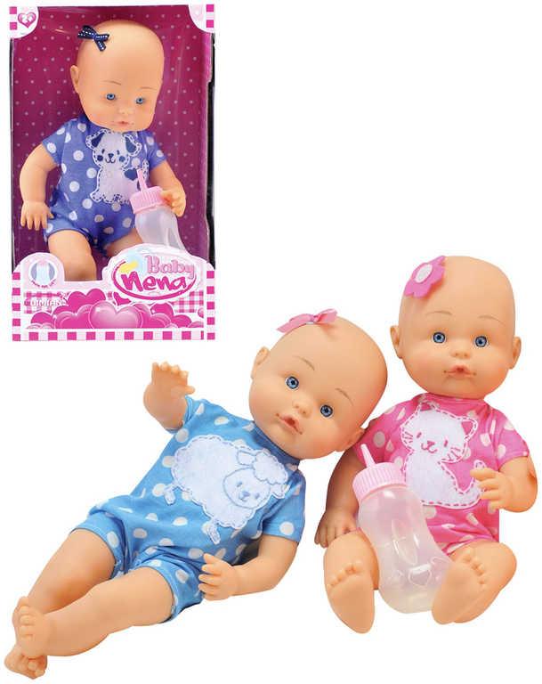 Panenka baby Nena 36cm set miminko s kojeneckou lahvičkou různé barvy