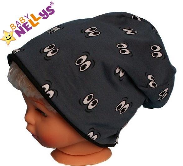 Bavlněná čepička s očičkami Baby Nellys ® - grafit - 50/52 čepičky obvod