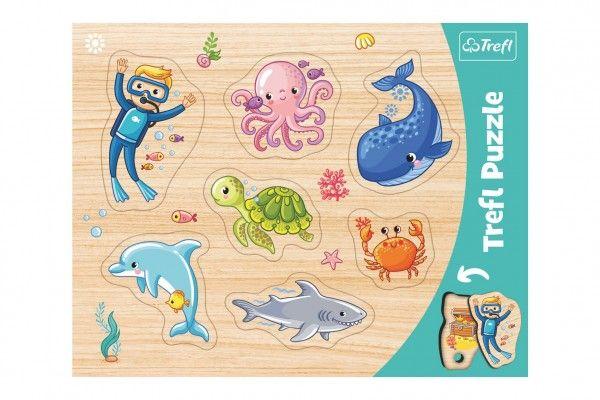 Vkládačka/Puzzle obrysové zvířátka mořský svět ve fólii