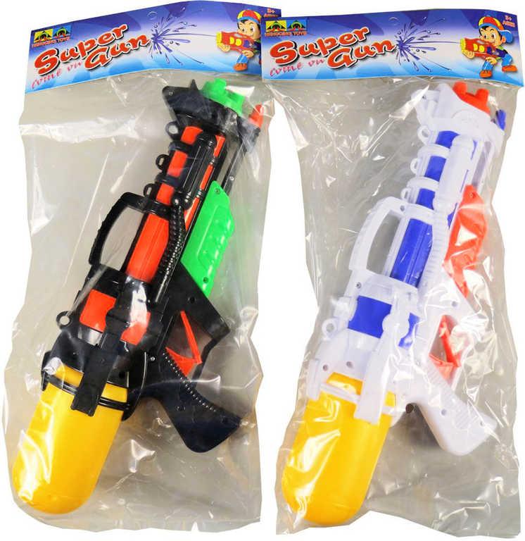 Pistole plastová vodní s nádržkou 36cm se zásobníkem na vodu 2 barvy v sáčku