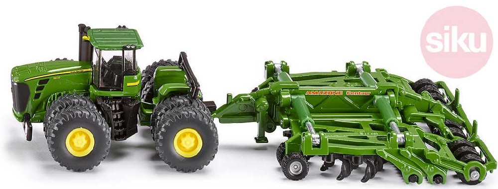 SIKU Traktor zelený John Deere 9630 set s bránami Amazone Centaur 1:87 model kov 1856