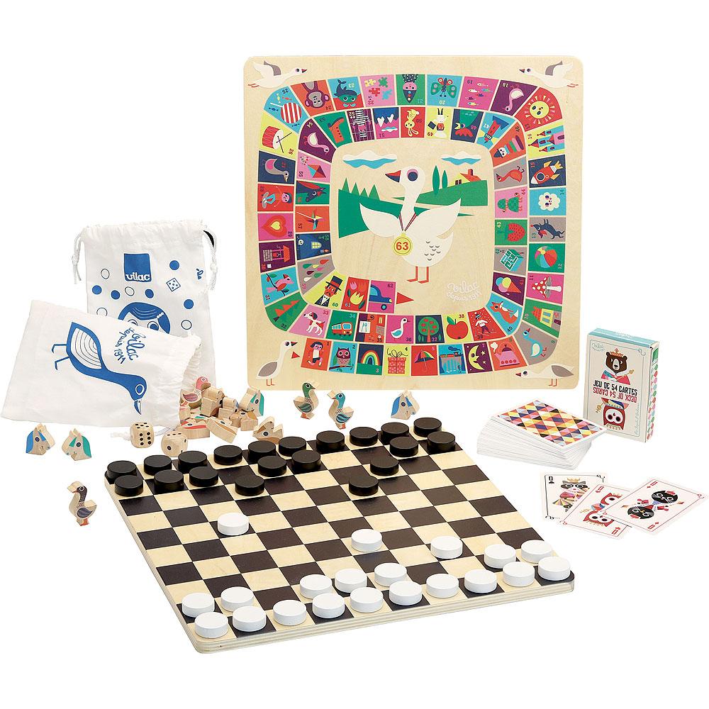 Vilac Tradiční dřevěný soubor stolních her