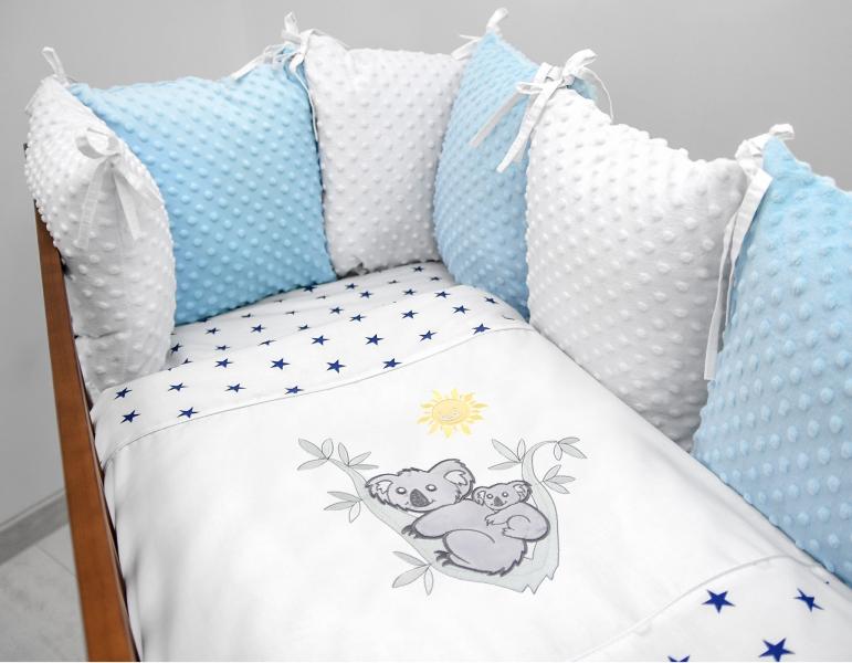 Polštářkový mantinel s Minky s povlečením s vyšívkou - bílá,modrá,hvěz/gran