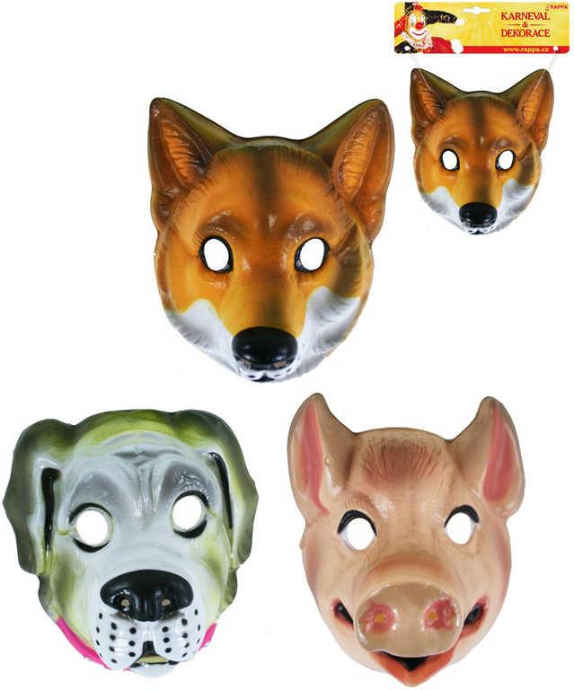 KARNEVAL Maska zvířecí plastová hlava zvířete s gumičkou 3 druhy