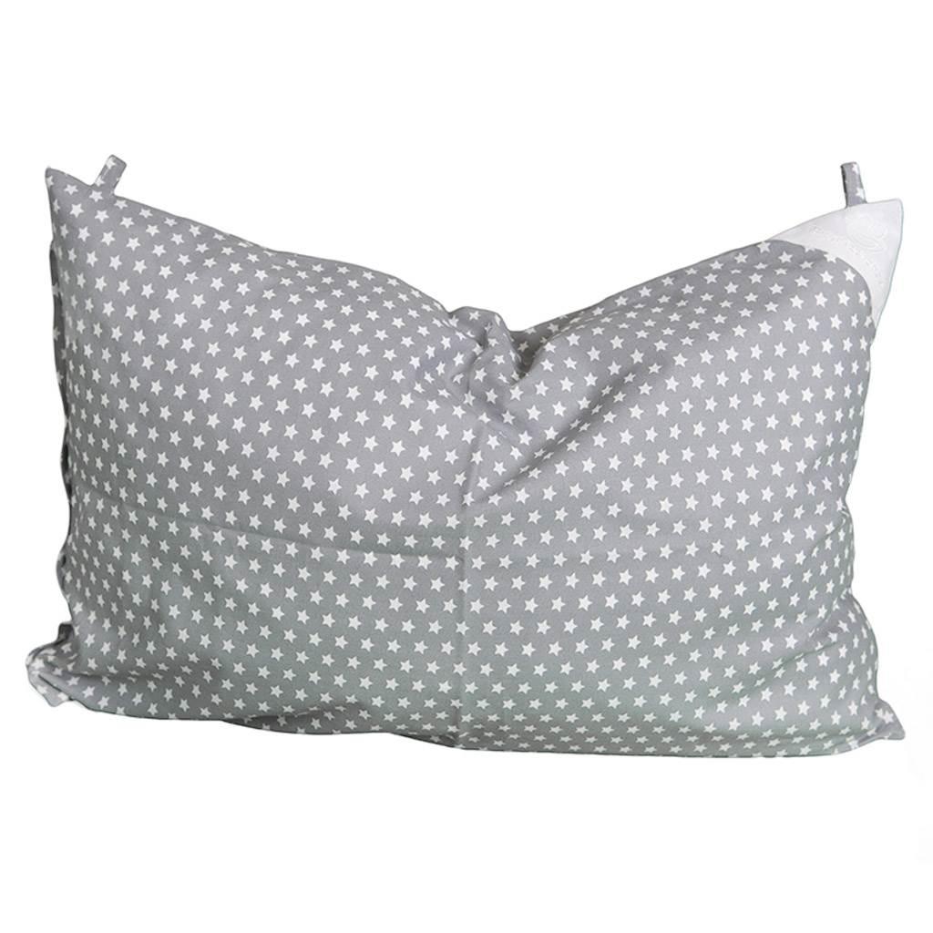 Povlak na polštář šedý s hvězdičkami - 60x40cm - šedá