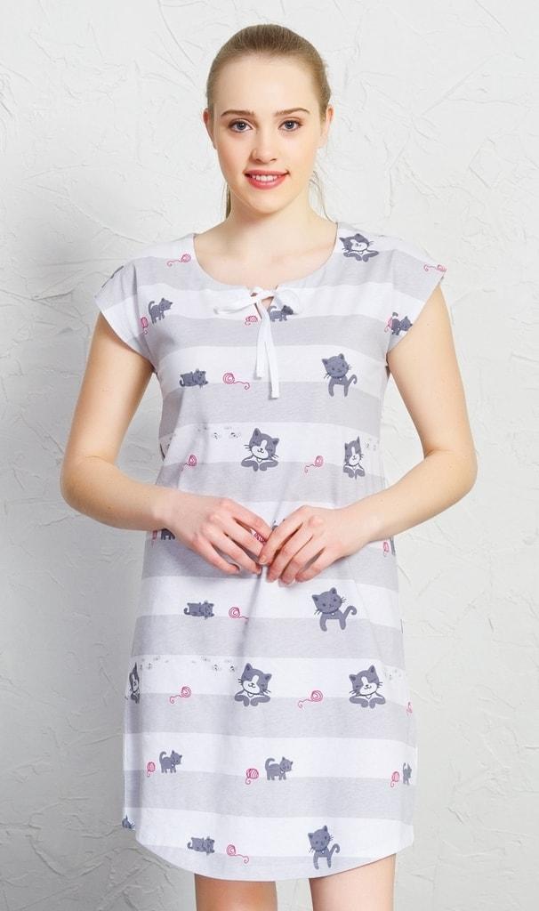 Dámské noční košile Malé kočky 4407 - Vienetta - Bordo s šedou/XL