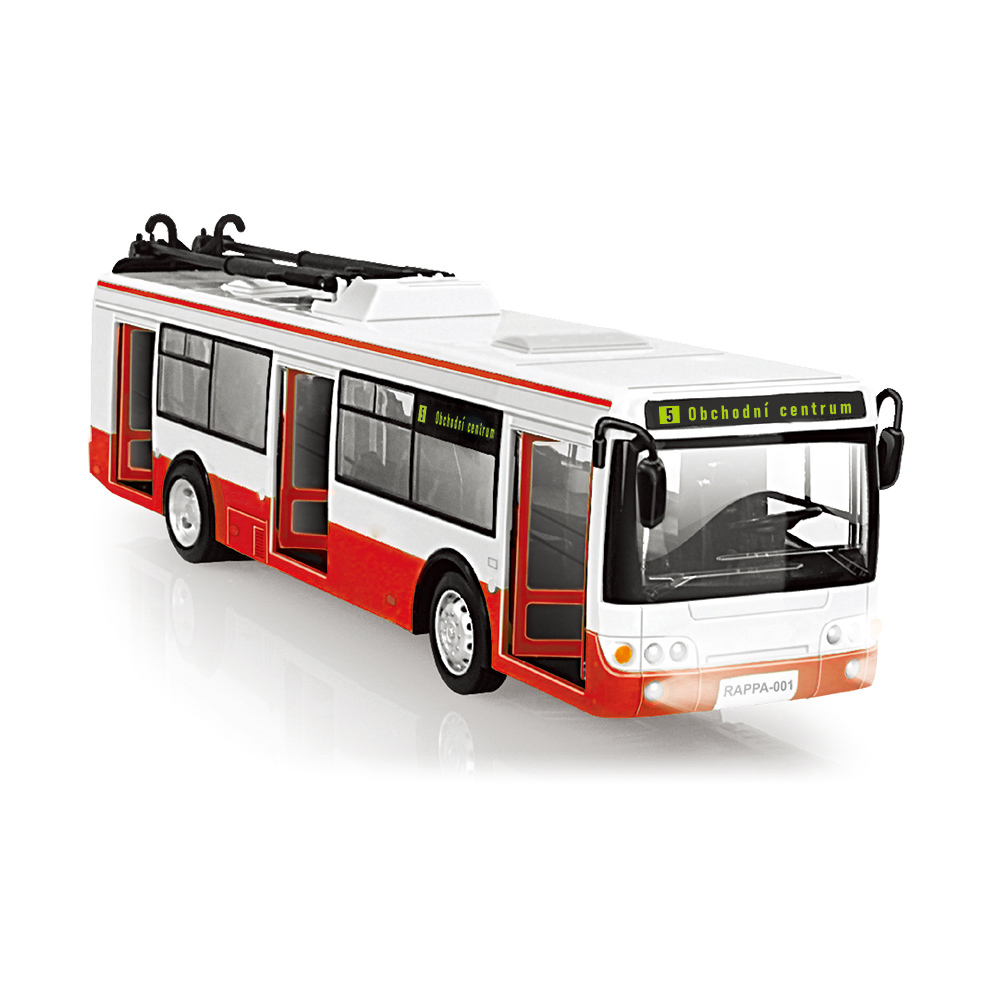 Trolejbus který hlásí zastávky česky 28 cm
