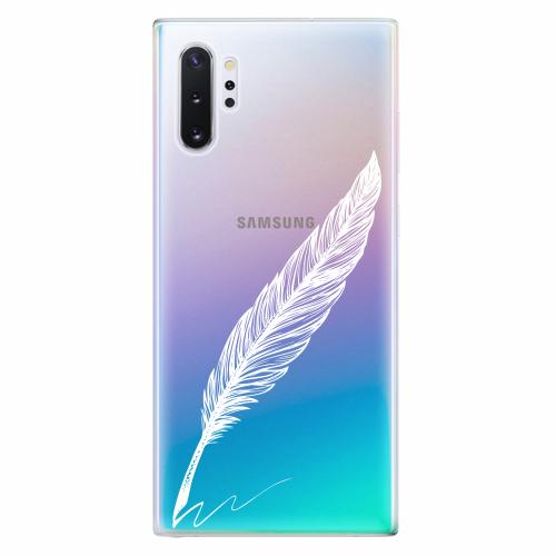 Silikonové pouzdro iSaprio - Writing By Feather - white - Samsung Galaxy Note 10+
