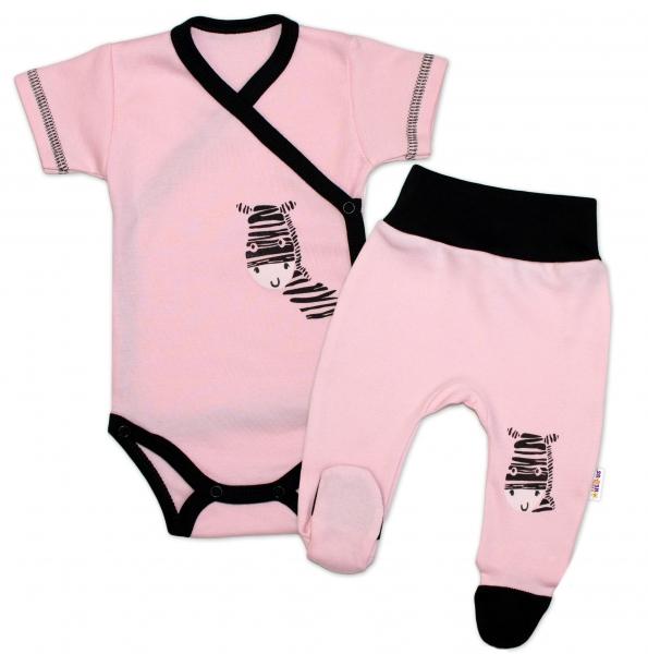 Baby Nellys 2-dílná sada body kr. rukáv + polodupačky, růžová