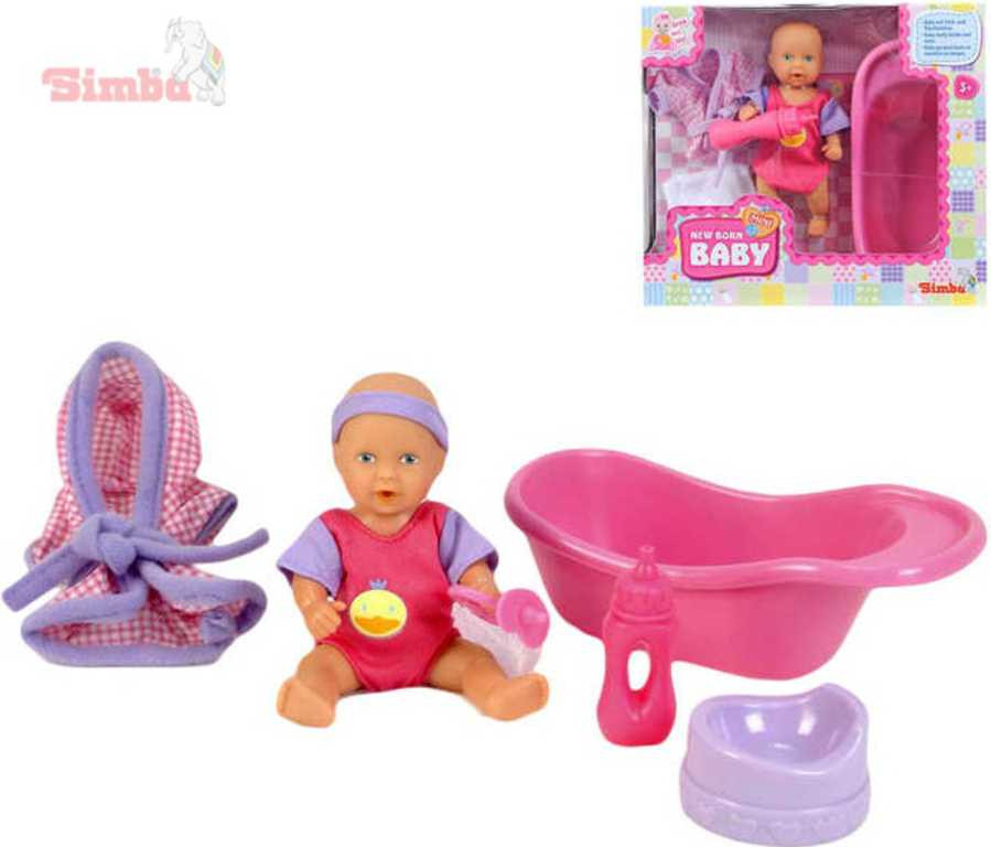 SIMBA Panenka 12cm miminko pije a čůrá toaletní set s doplňky