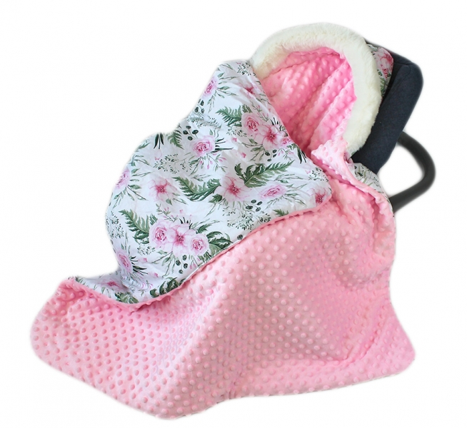 baby-nellys-bavlnena-oboustranna-decka-3v1-s-minky-a-kozesinkou-90x90-cm-kvetinky-pink