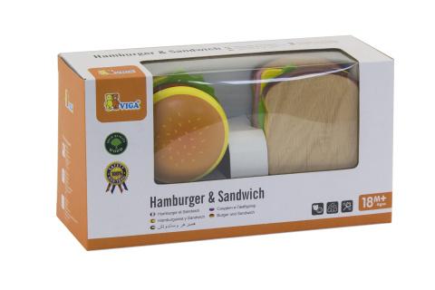 Dřevěný hamburger a sendvič
