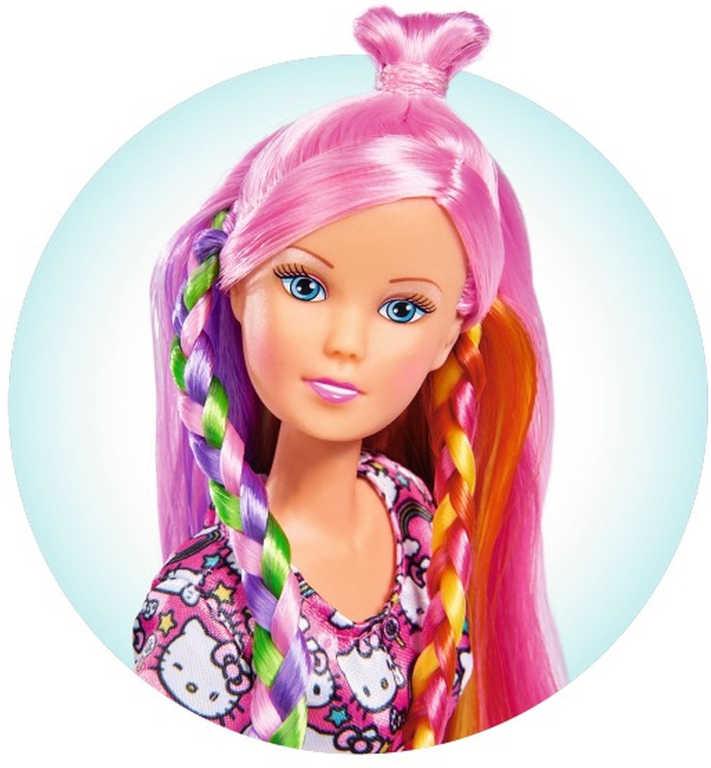 SIMBA Panenka Steffi dlouhé duhové vlasy česací set s doplňky Helo Kitty