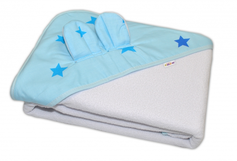 baby-nellys-detska-termoosuska-s-ousky-baby-stars-s-kapuci-100-x-100-cm-modra-bila-k19