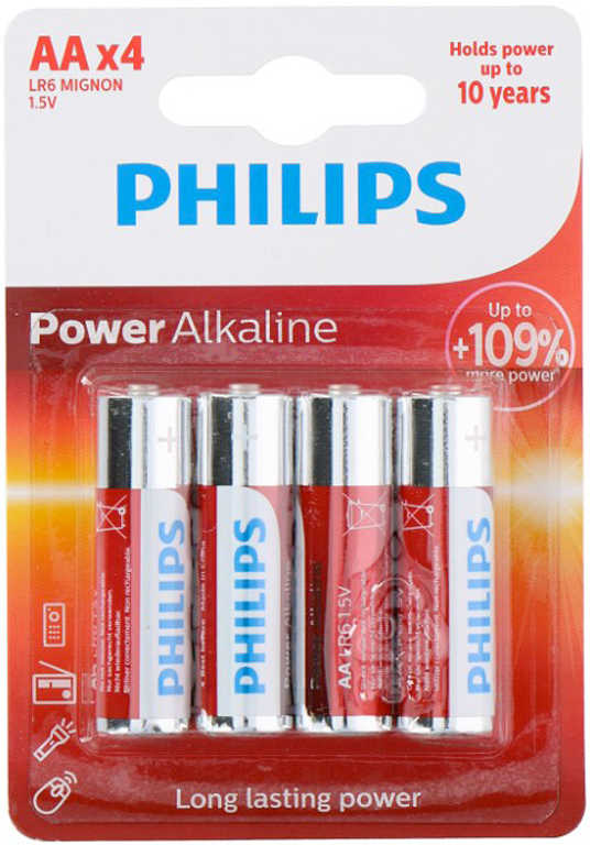 Baterie alkalická Philips AA (LR6) 1,5V set 4ks na kartě Alkaline
