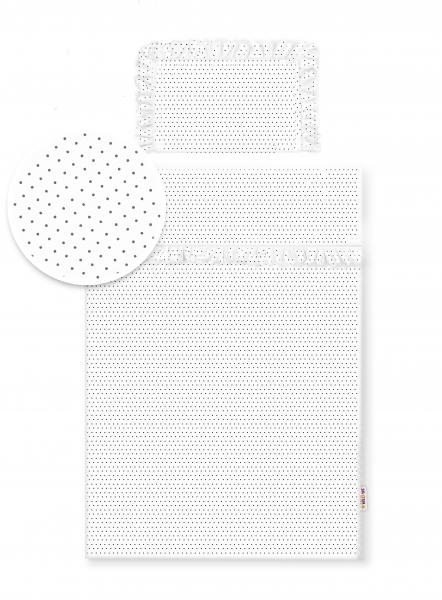 2-dílné bavlněné povlečení s volánky - bílé/tečky