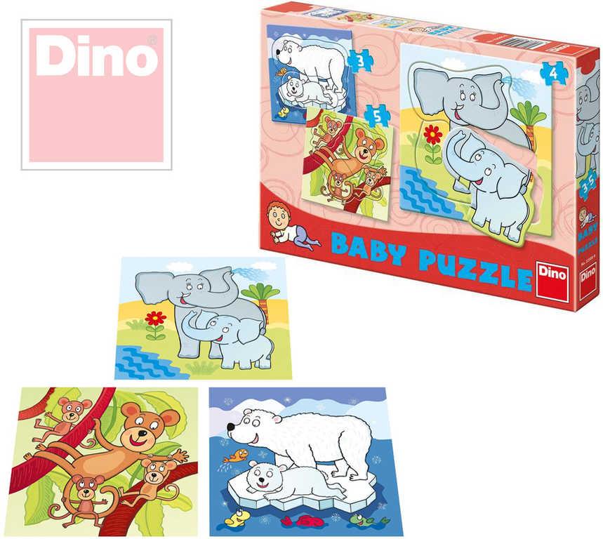 DINO Puzzle baby set 3v1 ZOO zvířátka 12 dílků v krabici 18x18 cm