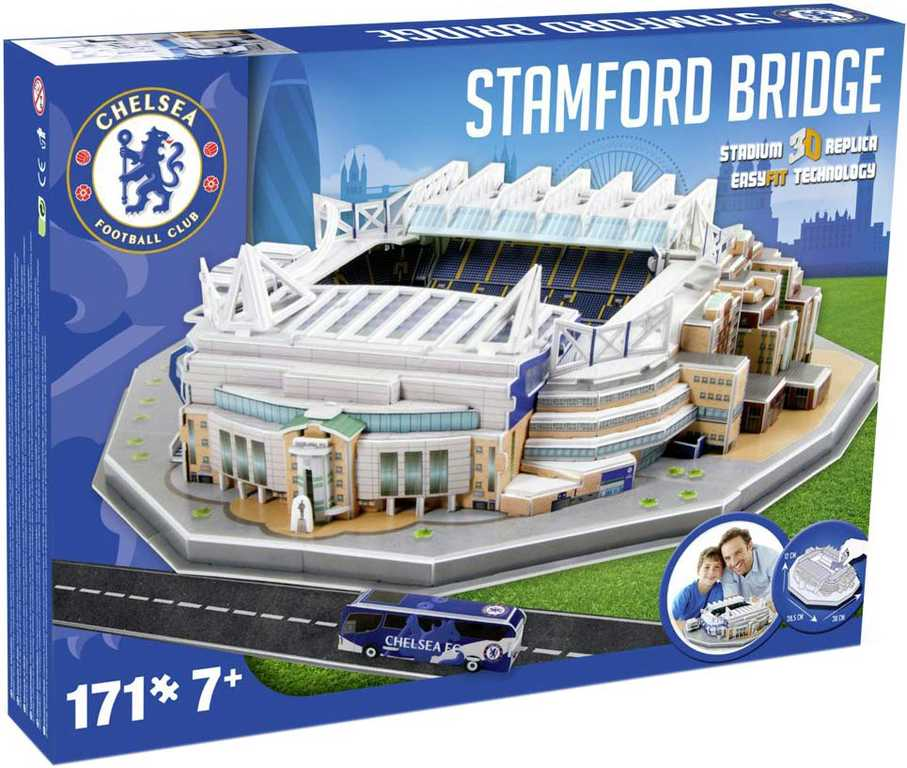 NANOSTAD 3D Puzzle model fotbalový stadion Chelsea anglie 171 dílků v krabici