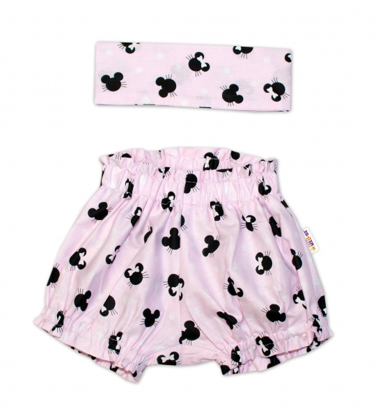 Bavlněné kraťásky s čelenkou Baby Nellys - Minnie růžové, vel. 0 - 1 rok - 0-1rok
