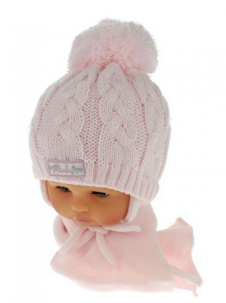 Zimní pletená čepička s šálou Baby Bear - růžová s bambulkou - 34/36 čepičky obvod