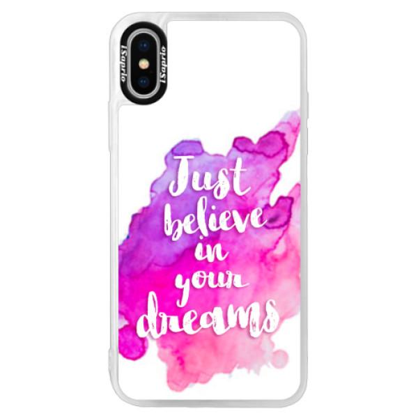 Neonové pouzdro Pink iSaprio - Believe - iPhone X