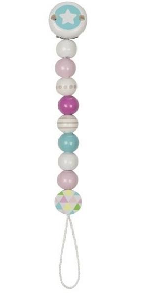 Goki Dřevěný řetízek na dudlík 17 cm - Hvězdička, tyrkysově-růžovo-bílá