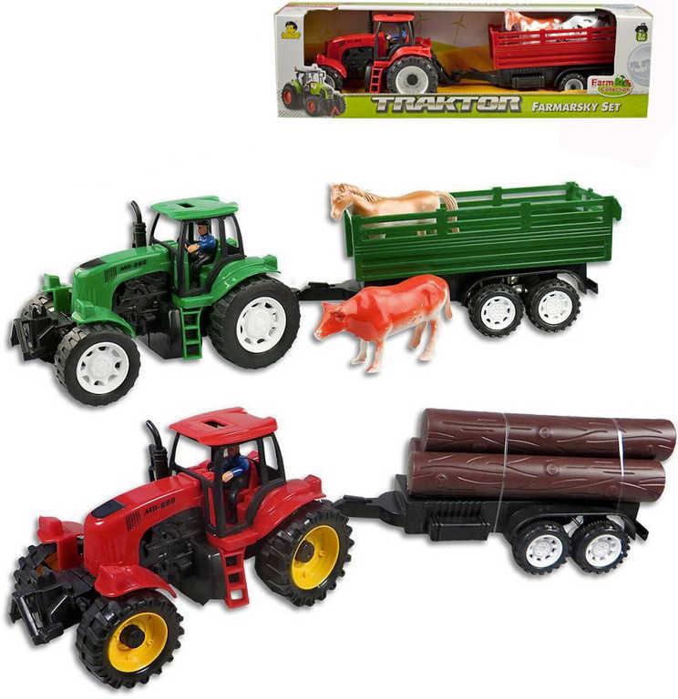 Traktor s přívěsem 44cm s kládami/se zvířaty 2 druhy 2 barvy plast