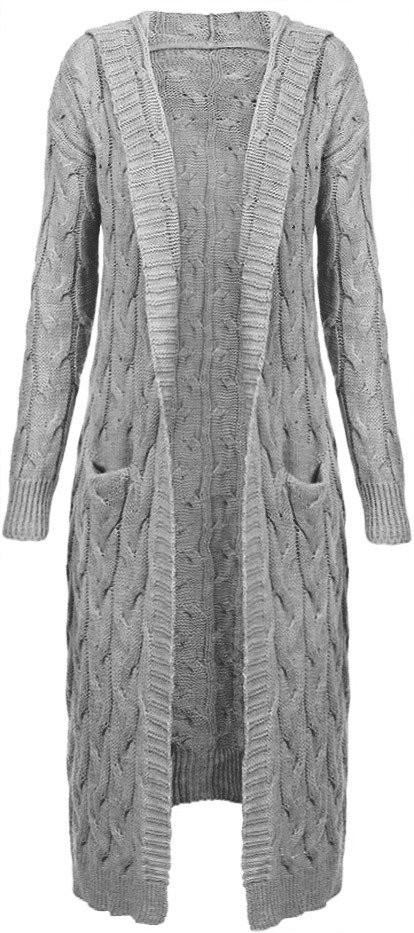 Světle šedý dámský svetr s kapucí (111ART) - Šedá/ONE SIZE