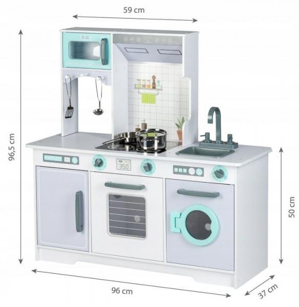 Eco Toys Dřevěná kuchyňka XXL s příslušenstvím, 105 x 44 x 14 cm - šedá, mátová