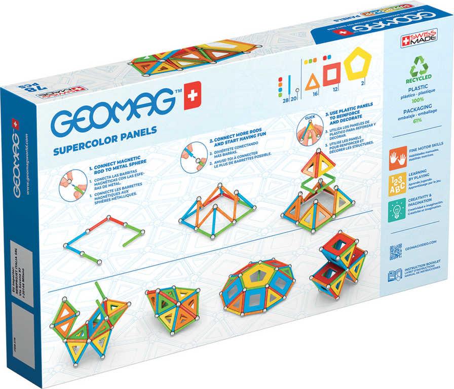 GEOMAG Supercolor Panels 78 dílků Eko magnetická STAVEBNICE