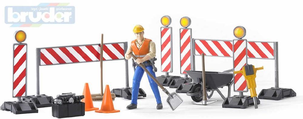 BRUDER 62000 Figurka muž dělník stavební silniční set s nářadím a doplňky