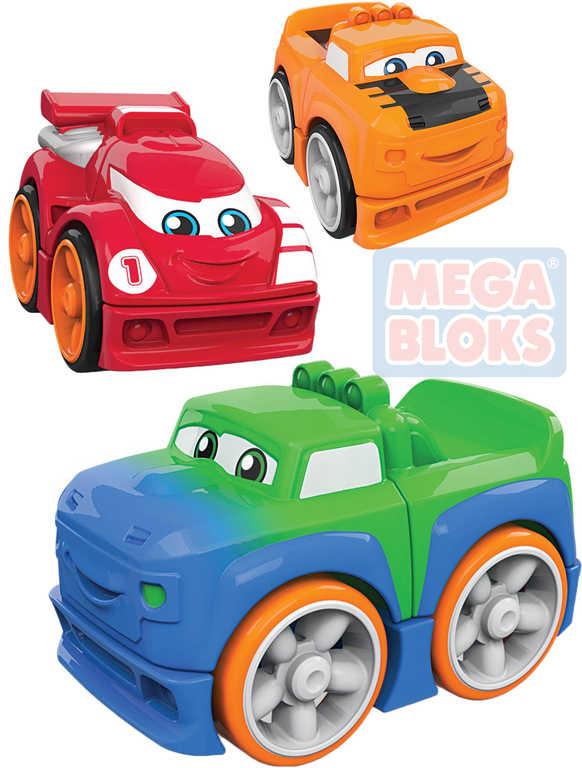 MEGA BLOKS Baby auto závodní k sestavení 3 dílky pro miminko 5 druhů