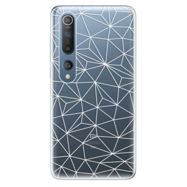Odolné silikonové pouzdro iSaprio - Abstract Triangles 03 - white - Xiaomi Mi 10 / Mi 10 Pro