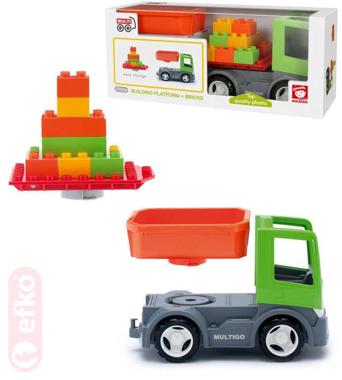 EFKO IGRÁČEK MultiGO Auto nákladní set 2 korby + kostky 9ks STAVEBNICE