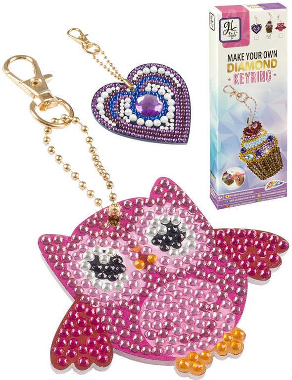 GRAFIX Diamond Výroba dětské klíčenky z kamínků kreativní set 3 druhy