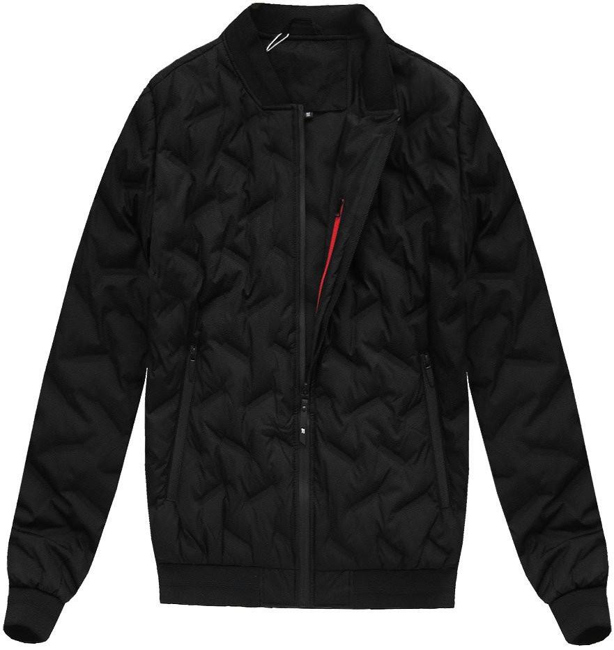 Černá pánská bunda s přírodní vycpávkou (X5025X) - Černá/M