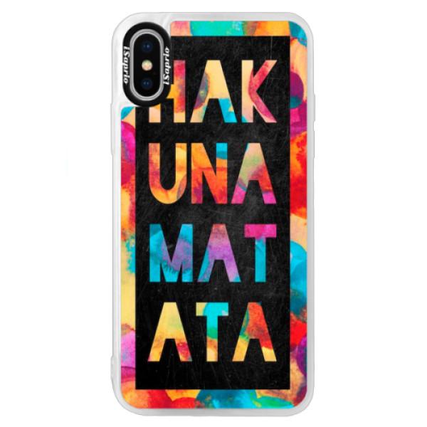 Neonové pouzdro Blue iSaprio - Hakuna Matata 01 - iPhone X