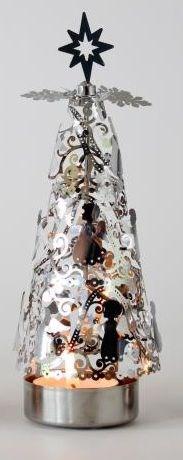 Otočný svícen stromek stříbrný
