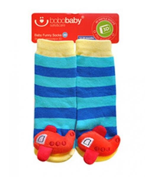 BOBO BABY Dětské protiskluzové ponožky 3D - Letadlo, modrá - 12/24měsíců
