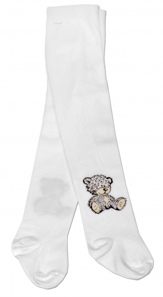 Bavlněné punčocháče Baby Nellys ® - Sweet Teddy - bílé, vel. 92/98 - 92/98
