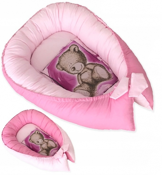 Baby Nellys Oboustranné hnízdečko, kokon Teddy 80x45x15cm - růžové