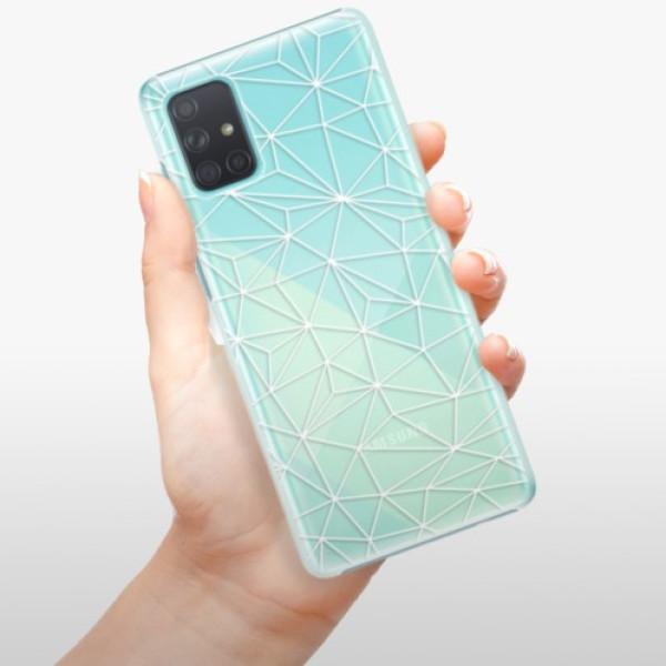 Plastové pouzdro iSaprio - Abstract Triangles 03 - white - Samsung Galaxy A71