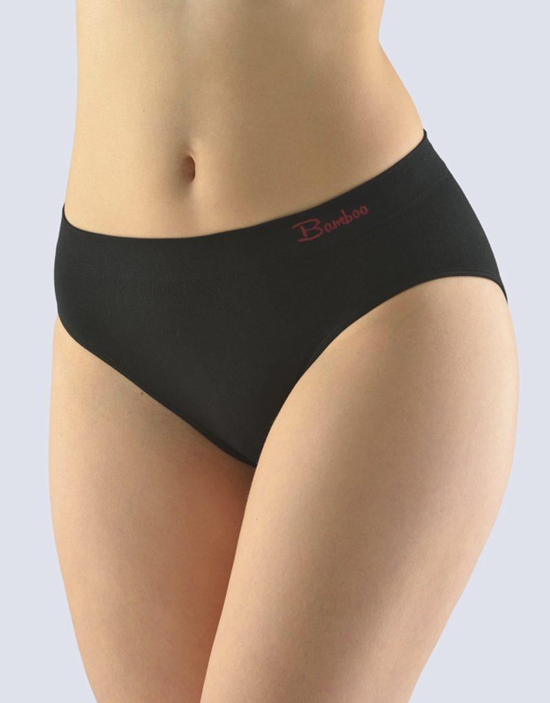GINA dámské kalhotky klasické, širší bok, bezešvé Natural Bamboo 00041P - černá kofola
