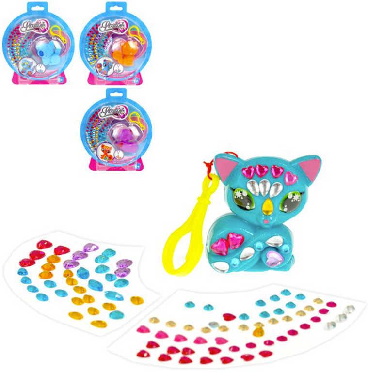 Přívěšek na klíče 6cm zvířátko s barevnými kamínky 4 druhy na kartě