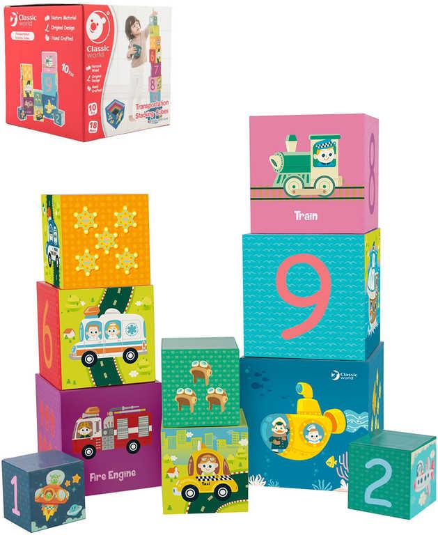 Baby kubus pyramida hranatá kostky stohovací s obrázky set 10ks karton